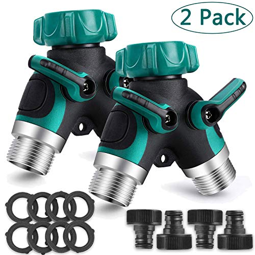 2 Pack 2 Way tuinslang splitter, slang Connector, outdoor Double Y klep waterkraan splitter met regelbare en vergrendelbare rubberen greep, kraanadapter met 4 snelle connectoren en 8 rubberen ringen